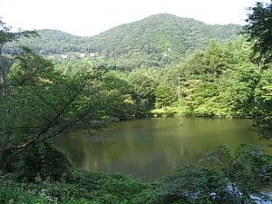 夕暮れ時の和美湖